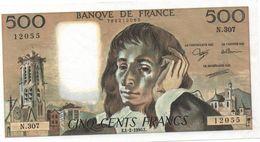 France- 500 Frs PASCAL - Du  1 02 1990 ( N.307)  Cat Fayette N° 71   Excellent état - 1962-1997 ''Francs''