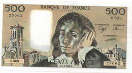 France- 500 Frs PASCAL - Du  1 02 1990 ( B.309)  Cat Fayette N° 71   Excellent état - 1962-1997 ''Francs''