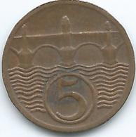 Czechoslovakia - 1923 - 5 Haléru - Bronze - KM6 - Tsjechoslowakije