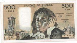 France- 500 Frs PASCAL - Du  5 07 1990 ( N.318)  Cat Fayette N° 71   Excellent état - 1962-1997 ''Francs''