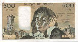 France- 500 Frs PASCAL - Du  2 01 1992 (J.371 )  Cat Fayette N° 71   Excellent état - 1962-1997 ''Francs''