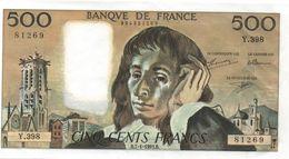 France- 500 Frs PASCAL - Du  7 01 1993 (Y.398 -269)  Cat Fayette N° 71   Excellent état - 1962-1997 ''Francs''