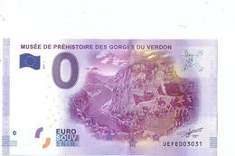 2016 BILLET TOURISTIQUE 0 Euro  Musee Prehistoire Des Gorges Du Verdon Dpt 14  Port 1.50  Numero Aleatoire - EURO