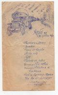 Menu Ancien Section D'Etat Major De La Réserve Automobile Du G.Q.G. Grand Quartier Général 14 Juillet 1915 Militaria - Menükarten