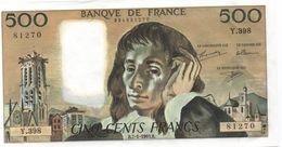 France- 500 Frs PASCAL - Du  7 01 1993 (Y.398 -270)  Cat Fayette N° 71   Excellent état - 1962-1997 ''Francs''