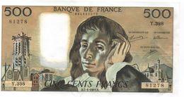 France- 500 Frs PASCAL - Du  7 01 1993 (Y.398 -278)  Cat Fayette N° 71   Excellent état - 1962-1997 ''Francs''