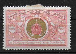 Österreich Jubiläums Marke 1908 Spendenmarke Cinderella Vignet Werbemarke Propaganda - Fantasy Labels