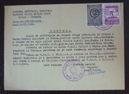 Yugoslavia 1958 Local Revenue Stamp KNIN On Document BZ1 - Covers & Documents