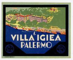 LOT118 - Vintage Hotel Label Luggage Hotel Villa Igiea Palermo Sicily Italy - Adesivi Di Alberghi