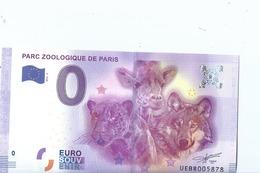 2016 BILLET TOURISTIQUE 0 Euro  Parc Zoologique De Paris  Dpt 75  Port 1.50     Numero Aleatoire  Epuise - EURO