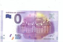 2016 BILLET TOURISTIQUE 0 Euro  Chateau De Cheverny  Dpt 41  Port 1.50     Numero Aleatoire  Epuise - EURO