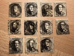 Lot De 11 Timbres Médaillons 10c N°6 Tous 4 Marges TB Pour études Diverses - 1851-1857 Medallions (6/8)