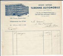 """Grand Garage """"Turenne-Automobile"""", 10 Rue De L'Hôpital St-Louis Et 124/126 Quai Jemmapes Paris 10 è - Autres"""