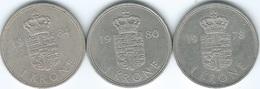 Denmark - Margrethe II - 1 Krone - 1978 (KM862.1) 1980 (KM862.2) & 1984 (KM862.3) - Denmark