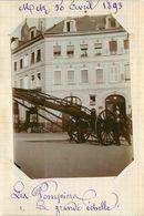 METZ  - Pompiers,la Grande échelle, 30 Avril 1893 (photo Format 11,4cm X 8,4cm Environ). - Places