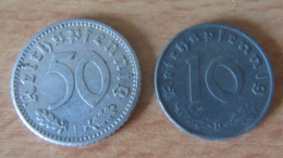 IIIe Reich - 2 Monnaies : 50 Pfennig 1935 F Et 10 Pfennig 1941 D - [ 2] 1871-1918: Deutsches Kaiserreich