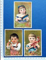 3 CHROMOS DORÉES...CHICORÉE BERIOT...ENFANT..MONTRE BOITE A BIJOUX...POLICHINELLE - Kaufmanns- Und Zigarettenbilder