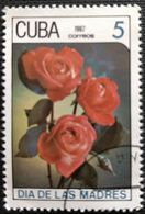 128. CUBA (5C) 1987 USED STAMP MOTHERS DAY, FLOWERS, ROSES - Cuba
