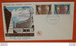 FRANKREICH UNESCO Dienstmarken 4-5 Buddha Hermes - FDC (Reliefdruck) Cover (2 Foto)(71962) - Lettres & Documents