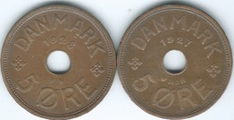 Denmark - Christian X - 5 Øre - 1927 (KM828.1) & 1928 (KM828.2) - Denmark