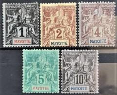 MAYOTTE 1892/99 - Canceled - YT 1, 2, 3, 4, 5 - 1c 2c 4c 5c 10c - Mayotte (1892-2011)