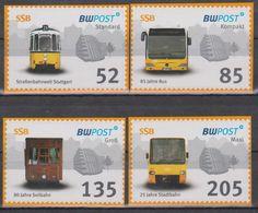 Moderne Privatpost: BWPost Stuttgart 2010. Stuttgarter Straßenbahn SSB: Straßenbahn, Bus, Seilbahn, Stadtbahn. 4 Werte - Tramways