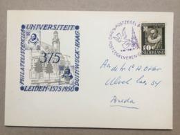 NETHERLANDS 1950 375 Years Universiteit Leiden + Handstamp Philatelistenclub Duinwuck Haag Tied With Dousa - Lettres & Documents