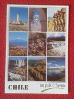 POSTAL CARTE POSTALE POST CARD CHILE CHILI UN PAÍS DIFERENTE FARO PHARE LIGHTHOUSE ? MOAIS DE PASCUA VISTAS VARIAS VIEWS - Chile