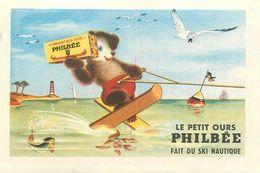 """LE PETIT OURS PHILBEE FAIT DU SKI NAUTIQUE - IMAGE CHROMO PUB PAIN D'EPICES DE DIJON """"PHILBEE"""" (8 X 12 Cm). - Süsswaren"""