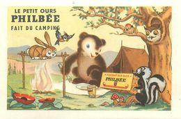 """LE PETIT OURS PHILBEE FAIT DU CAMPING - IMAGE CHROMO PUB PAIN D'EPICES DE DIJON """"PHILBEE"""" (8 X 12 Cm). - Süsswaren"""
