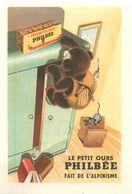 """LE PETIT OURS PHILBEE FAIT DE L'ALPINISME- IMAGE CHROMO PUB PAIN D'EPICES DE DIJON """"PHILBEE"""" (8 X 12 Cm). - Süsswaren"""