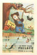 """LE PETIT OURS PHILBEE PECHE A LA LIGNE - IMAGE CHROMO PUB PAIN D'EPICES DE DIJON """"PHILBEE"""" (8 X 12 Cm). - Süsswaren"""