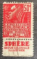 France Timbre-poste Type Femme Fachi Y&T N°272 Avec Bande Publicitaire Sphère Revue Coloniale Illustrée - Francia