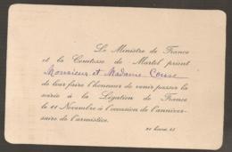 CARTON D'INVITATION / SOIREE LEGATION FRANCAISE PEKIN / LE MINISTRE DE LA FRANCE ET LA COMTESSE DE MARTEL   C395 - Documents Historiques