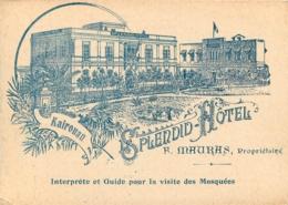 KAIROUAN PERMIS DE VISITER LES MOSQUEES  CONTROLE CIVIL SPLENDID HOTEL  MAURAS 12.50 X 9 CM - Tickets D'entrée