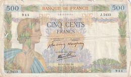 BILLET DE 500 FRANCS LA PAIX . DJ.9-4-1942.DJ.  J.5433   944    N° 135808944  . SCAN RECTO VERSO - 500 F 1940-1944 ''La Paix''