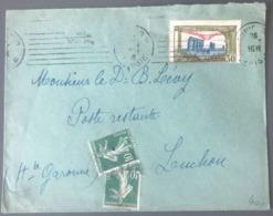 Tunisie, PA N°2 Sur Lettre, Taxée Avec 2 N°159 (Semeuse) 1925 - (B2863) - Tunisia (1888-1955)