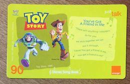 DISNEY TOY STORY THAÏLANDE ORANGE RECHARGE GSM 90 PREPAID PRÉPAYÉE - Disney