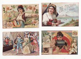 Chromo  CHOCOLAT SUCHARD    Lot De 4    Couple, Femmes, Fleurs     Rien D'écrit Au Verso - Suchard