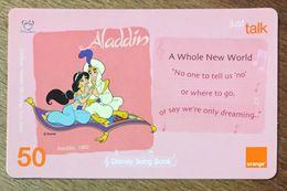DISNEY ALADIN THAÏLANDE ORANGE RECHARGE GSM PREPAID PRÉPAYÉE - Disney