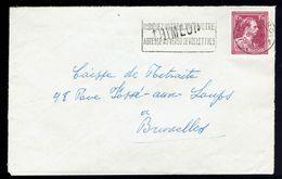 """Lsc De  Grande Griffe D'origine  De Gare  """" Thimeon """" / COB 832 De Charleroi 6 XI 1952 => Bruxelles - Marcophilie"""