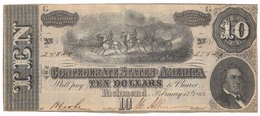 10 DOLLARS 17 FEVRIER 1864 - Confederate Currency (1861-1864)