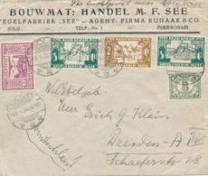 Nederlands Indië - 1932 - 2 & 5 Cent Witte Kruis Op Business Cover Van Solo Naar Dresden / Deutschland - LP Tot Medan - Netherlands Indies