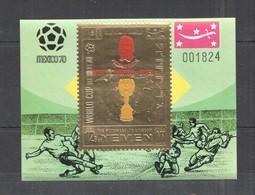 XX577 IMPERF YEMEN GOLD WORLD CUP MEXICO 1970 FOOTBALL OVERPRINT PELE BL MNH - Fußball-Weltmeisterschaft
