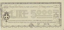 Funicolare Di Lanzo - St.Margherita - Buono Di Lire 5000       (A-224-200204) - Funicolari