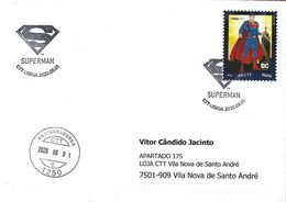 """PORTUGAL - """"meuselo"""" And Postmark - DC Comics Superman (Real Circulated) - Fairy Tales, Popular Stories & Legends"""