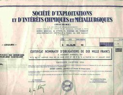 STE D'EXPLOITATIONS & D'INTERETS CHIMIQUES & METALLURGIQUES  ( LYON ) - Mines