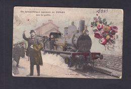 Un Sympathique Souvenir De Fumay Que Je Quitte ( Train Gare En L'état  41889) - Fumay