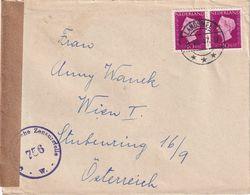 PAYS-BAS 1947 LETTRE CENSUREE DE LANDSMEER  POUR WIEN - Period 1891-1948 (Wilhelmina)