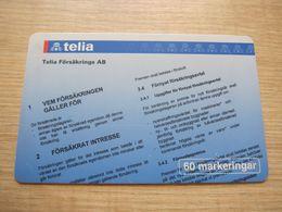 60 Markeringar Chip Phonecard,Telia Forsakrings, 2000 Pieces,used - Zweden